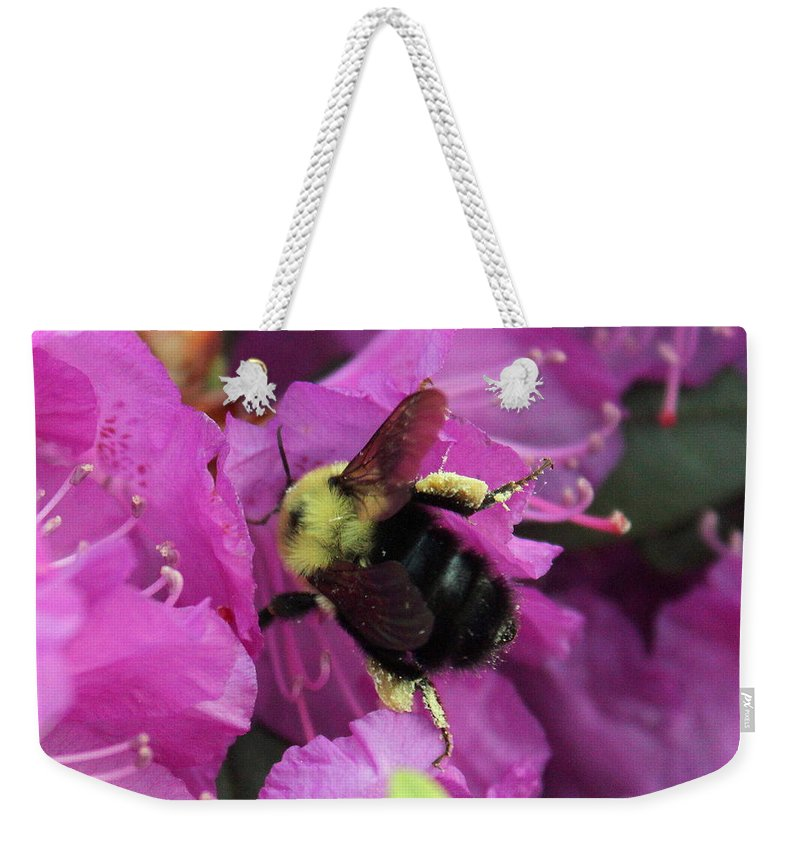 Bumble Bee Weekender Tote Bag featuring the photograph Busy Bee Collecting Pollen On Rhododendron by Anita Hiltz