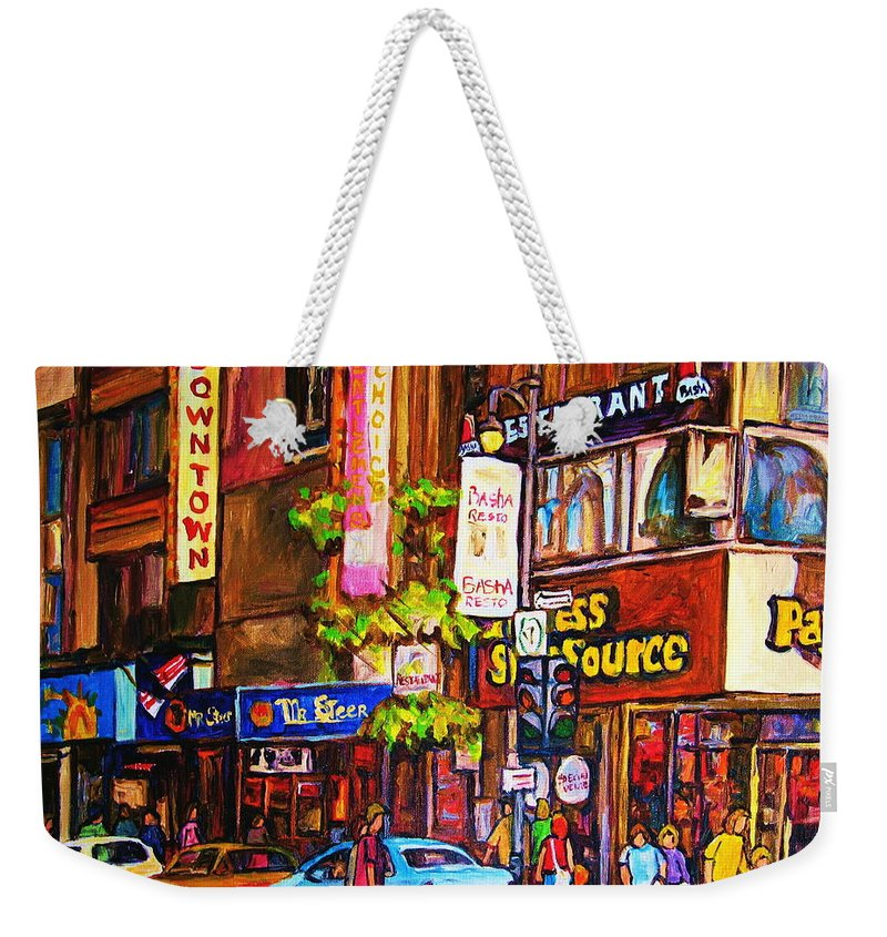 Cityscape Weekender Tote Bag featuring the painting Busy Downtown Street by Carole Spandau