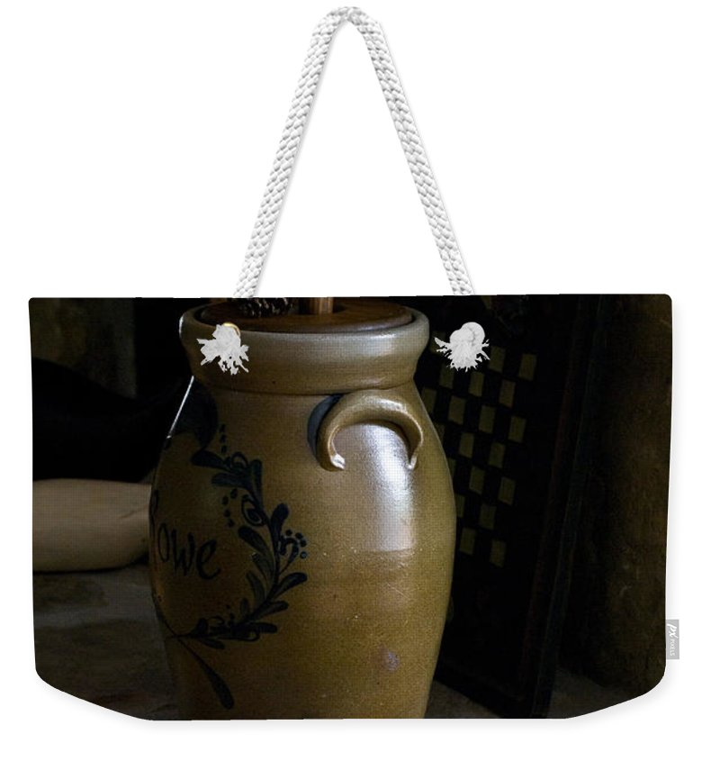 Butter Weekender Tote Bag featuring the photograph Butter Churn on Hearth Still Life by Douglas Barnett