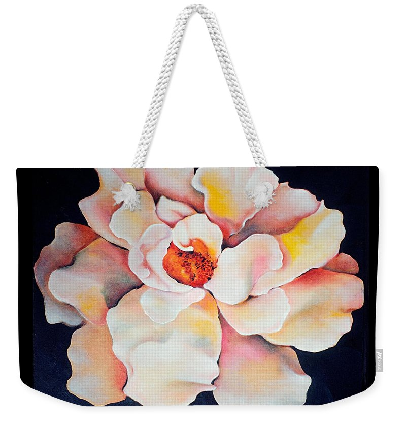 Large Floral Weekender Tote Bag featuring the painting Butter Flower by Jordana Sands