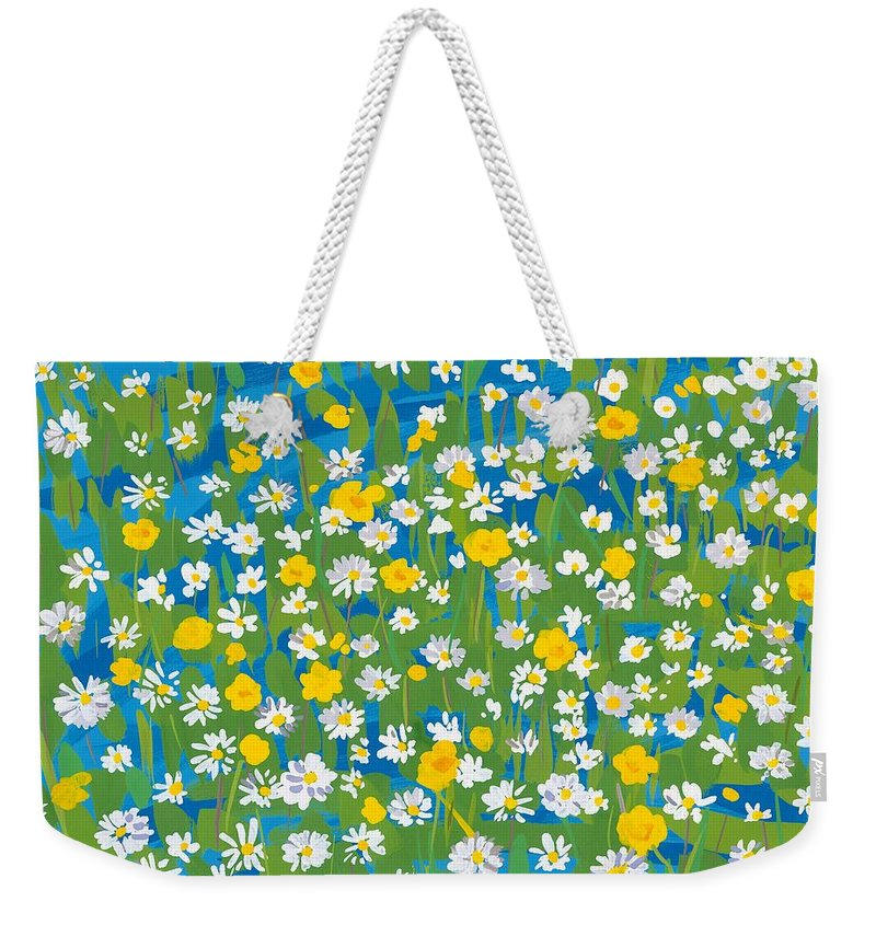 Daisy Weekender Tote Bag featuring the painting Buttercups And Daisies by Sarah Gillard