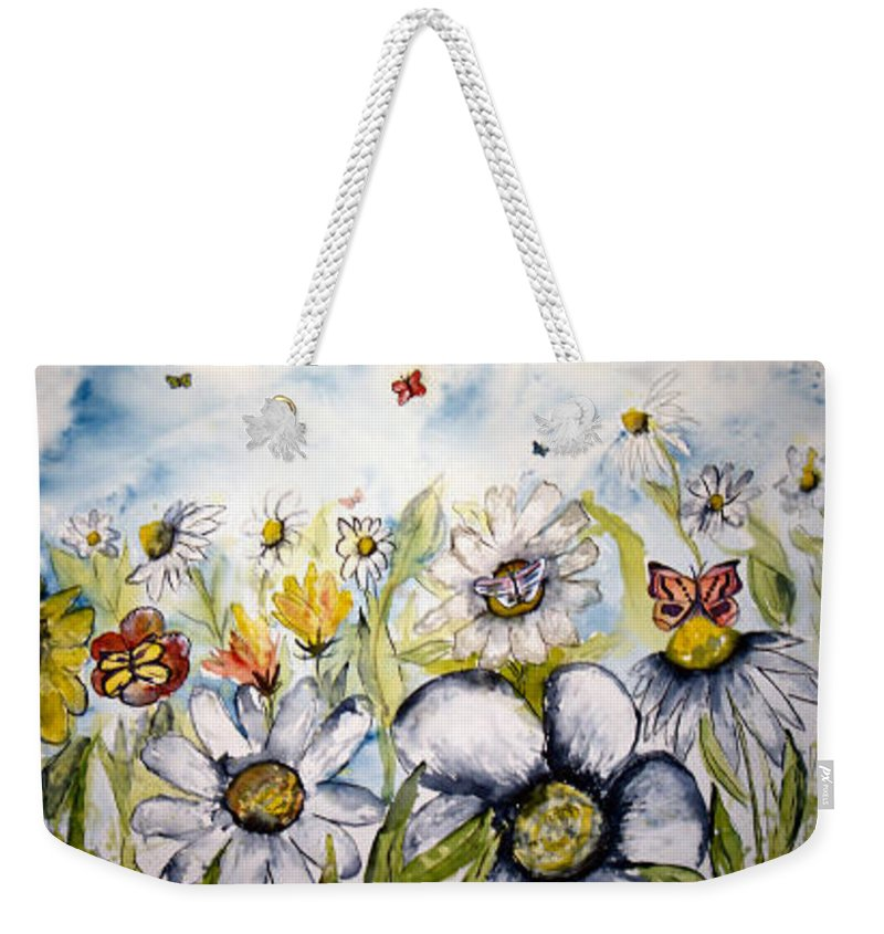 Butterfly Weekender Tote Bag featuring the painting Butterflies and Flowers by Derek Mccrea