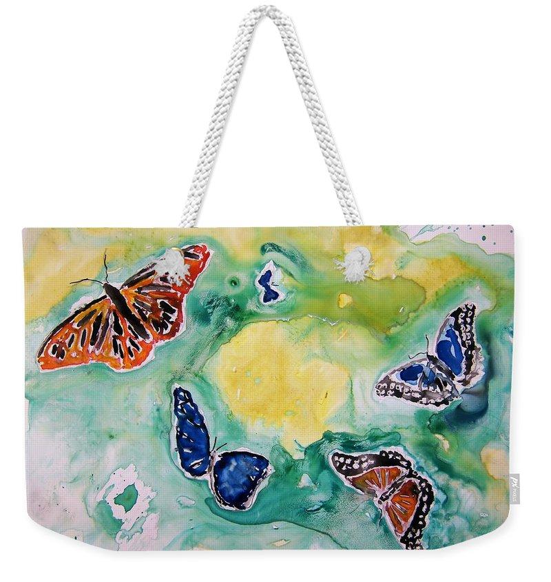 Watercolour Weekender Tote Bag featuring the painting Butterflies by Derek Mccrea