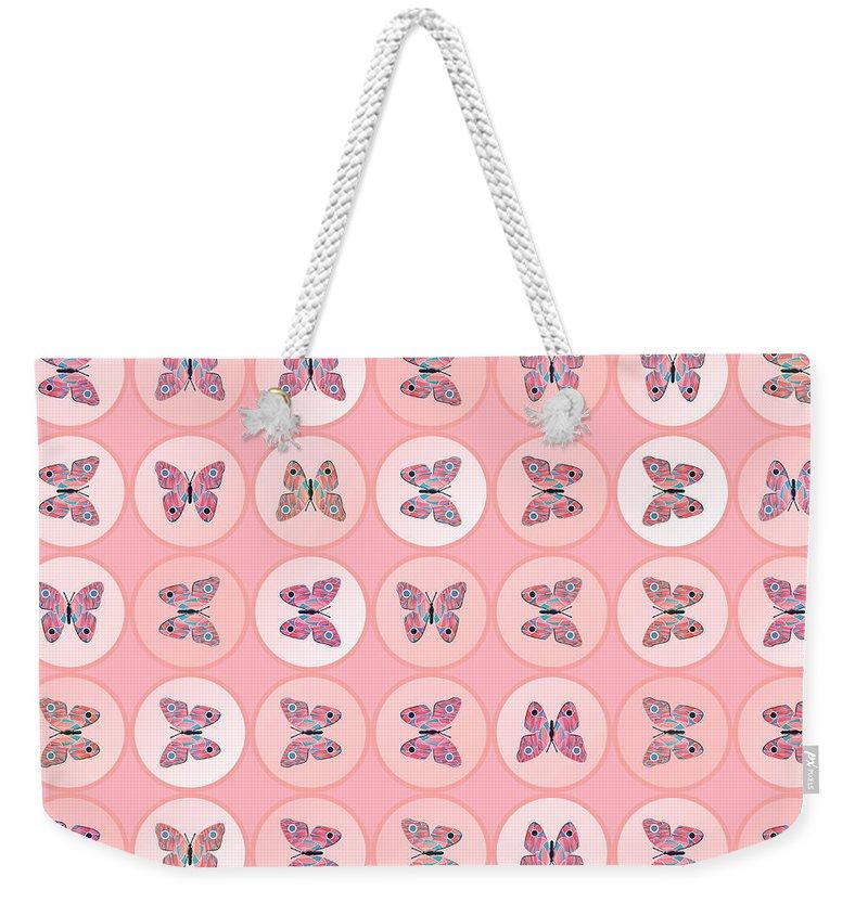 Tiled Weekender Tote Bag featuring the digital art Butterflies by Gaspar Avila