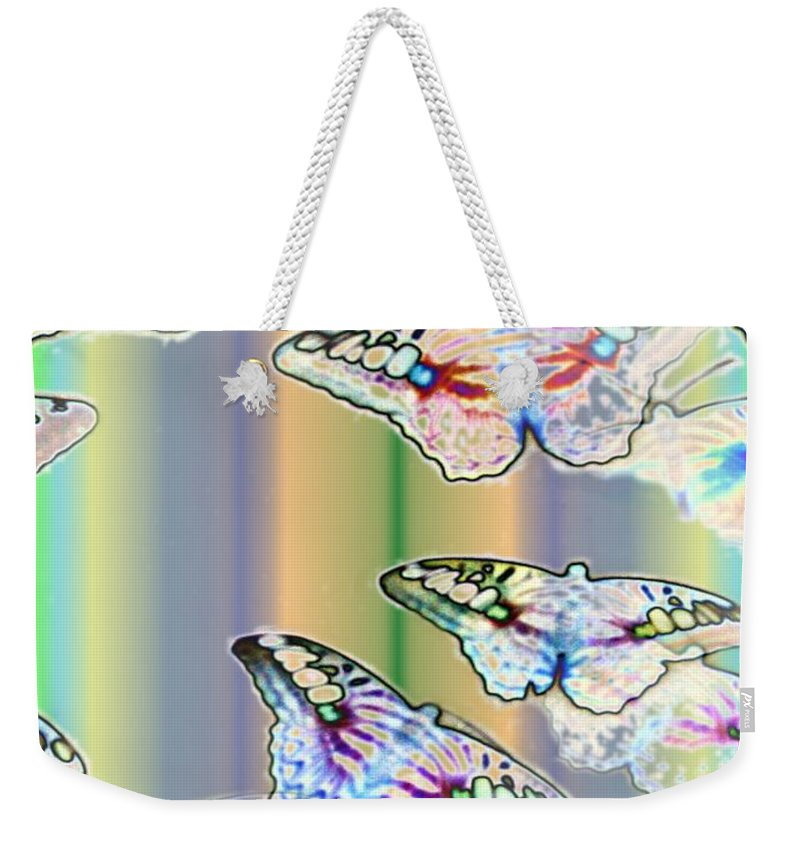 Butterflies Weekender Tote Bag featuring the photograph Butterflies In The Vortex by Tim Allen