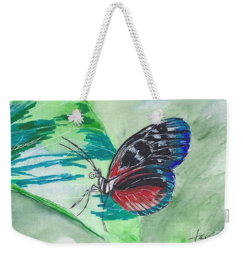 Butterfly; Butterflies Weekender Tote Bag featuring the painting Butterfly 10 by Judith Rice