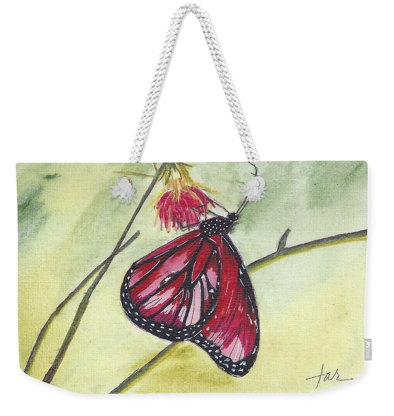 Butterfly; Butterflies Weekender Tote Bag featuring the painting Butterfly 12 by Judith Rice