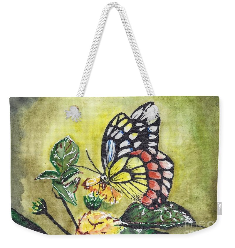 Butterfly; Butterflies Weekender Tote Bag featuring the painting Butterfly 2 by Judith Rice