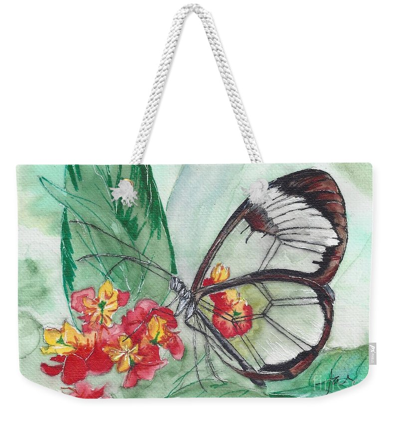 Butterfly; Butterflies Weekender Tote Bag featuring the painting Butterfly 4 by Judith Rice