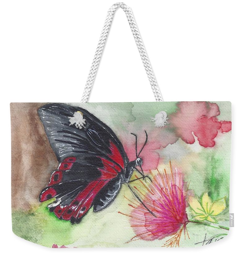 Butterfly; Butterflies Weekender Tote Bag featuring the painting Butterfly 5 by Judith Rice