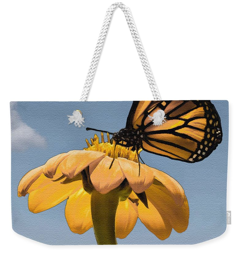 Butterfly Weekender Tote Bag featuring the photograph Butterfly And Flower by Sharon Foster