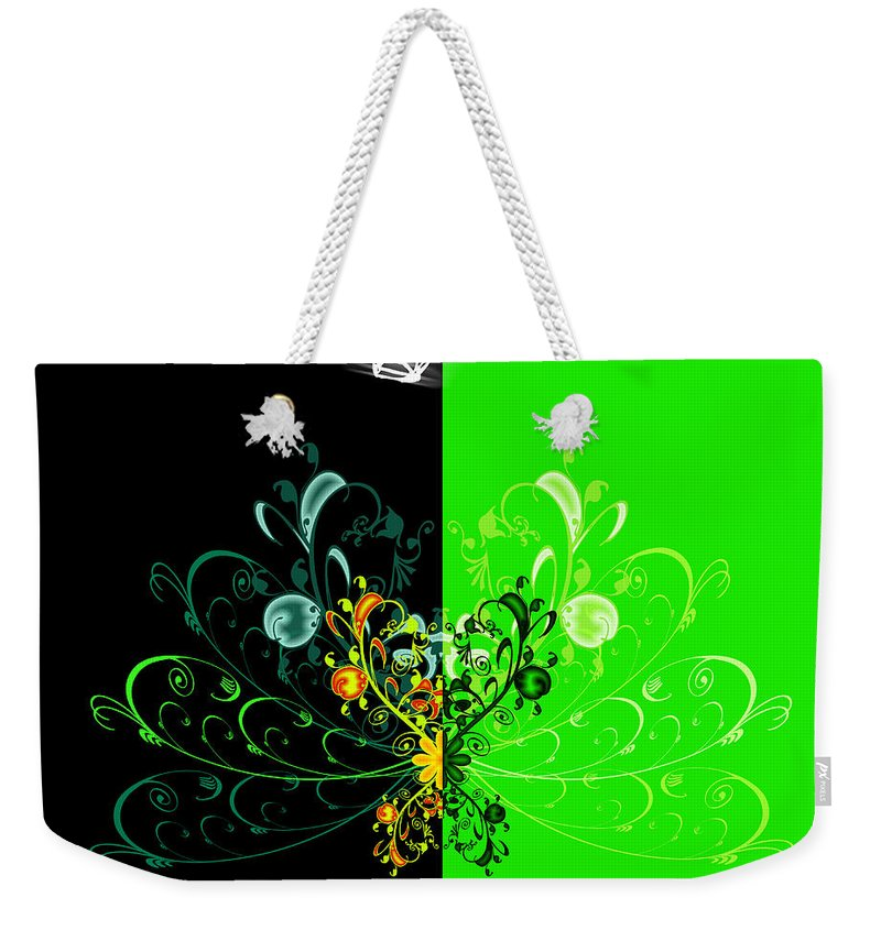 Flower Weekender Tote Bag featuring the digital art Butterfly And Ornament by Svetlana Sewell