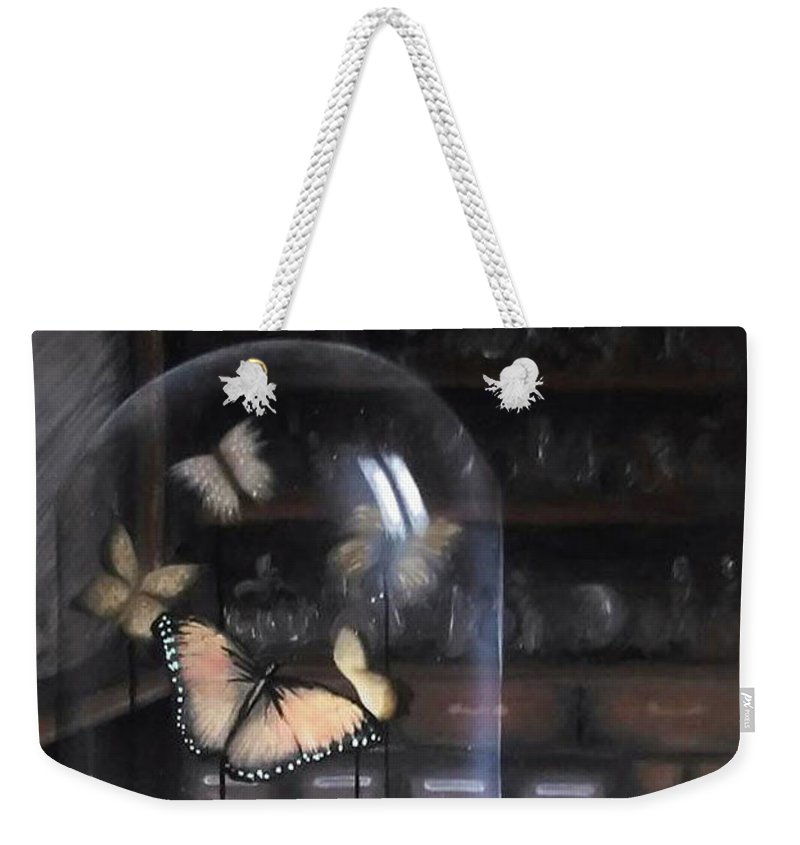 Butterfly Weekender Tote Bag featuring the painting Butterfly Belljar by Siobhan Cardus