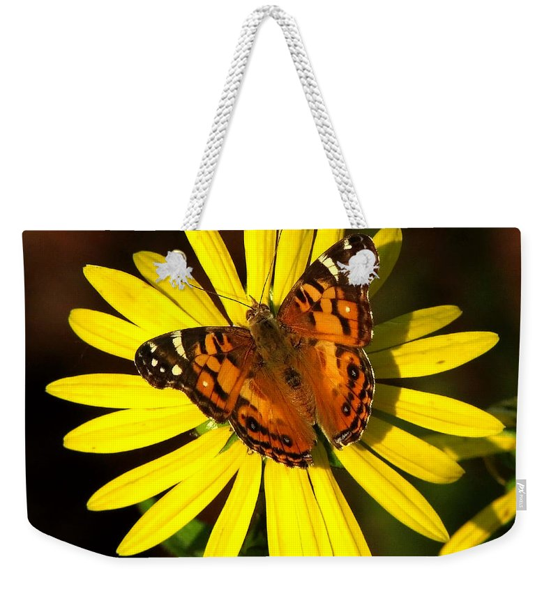 Nature Weekender Tote Bag featuring the photograph Butterfly Bloom by Peg Urban