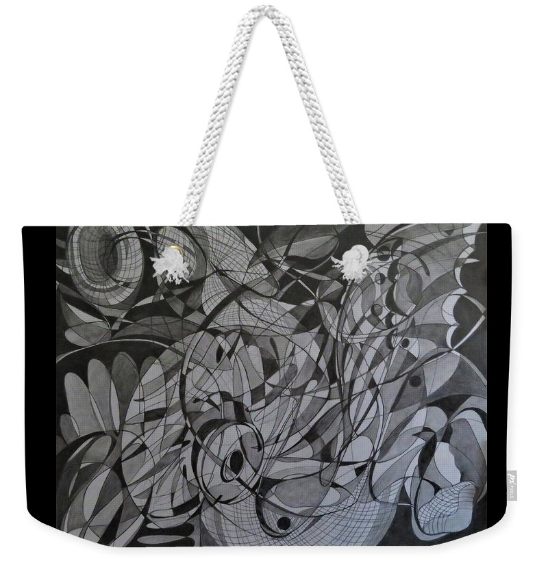 Line Abstract Weekender Tote Bag featuring the drawing Butterfly Effect by Natalia Leigh