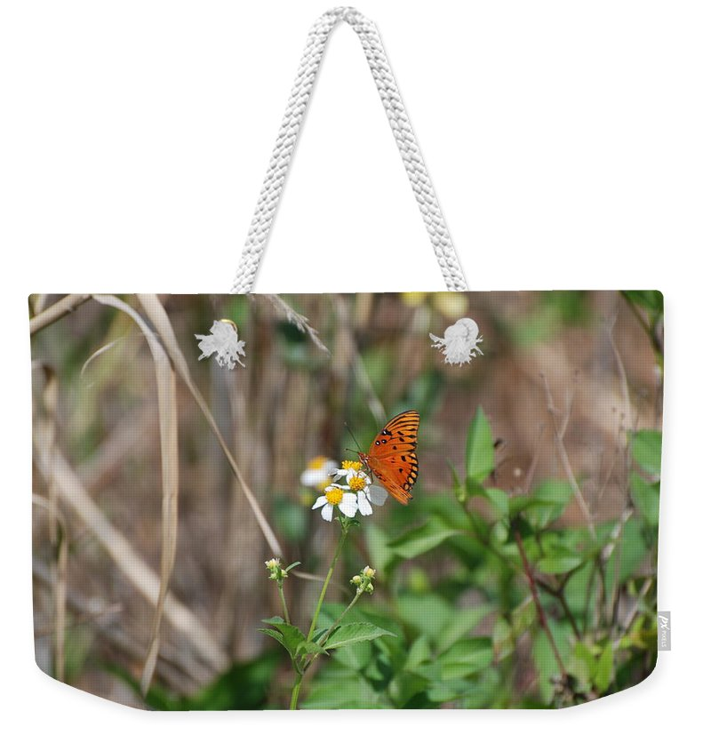 Butterfly Weekender Tote Bag featuring the photograph Butterfly Flower by Rob Hans