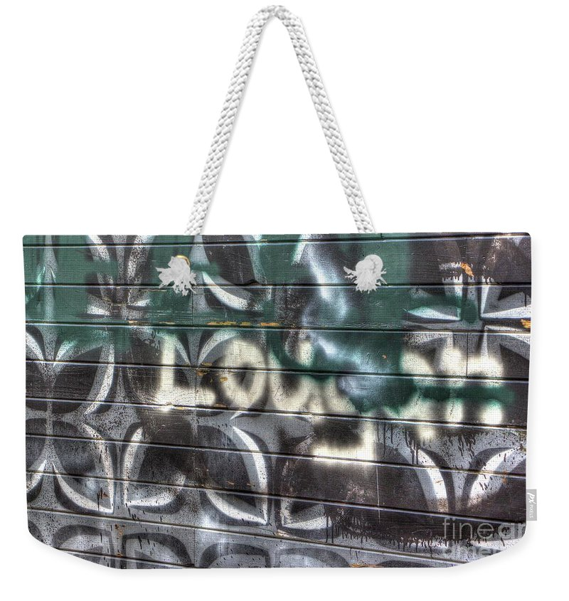 Dorthea Weekender Tote Bag featuring the photograph Butterfly Graffiti by Dorothy Hilde