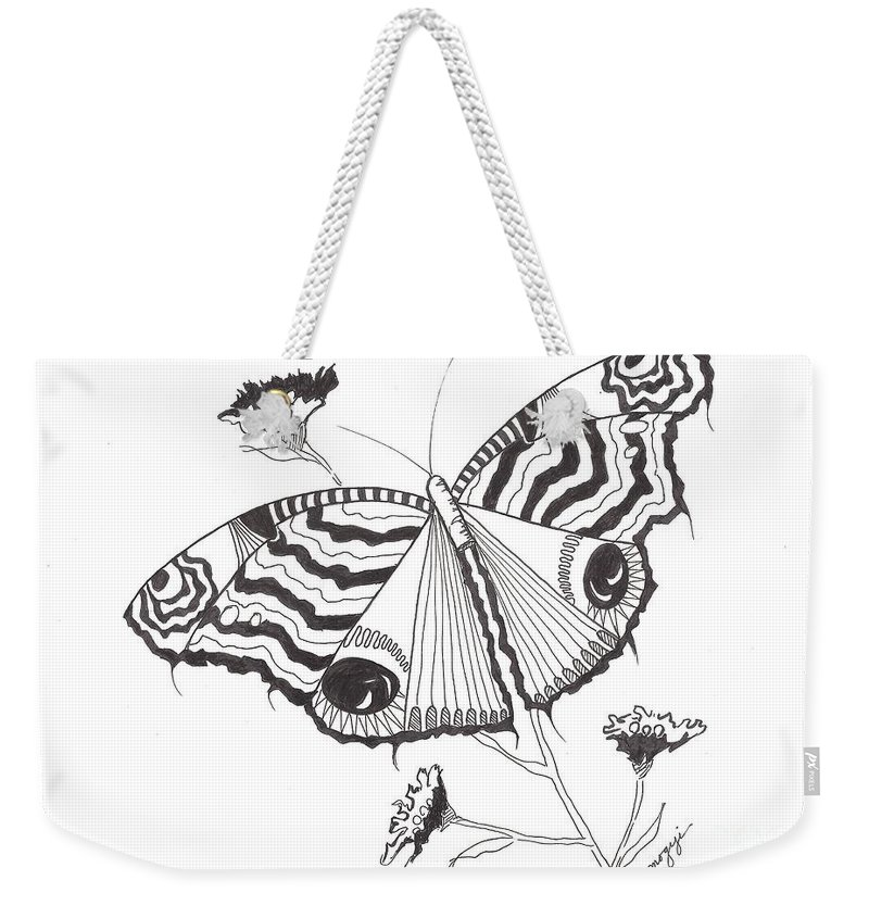 Black And White Weekender Tote Bag featuring the drawing Butterfly In Black And White by Jayne Somogy