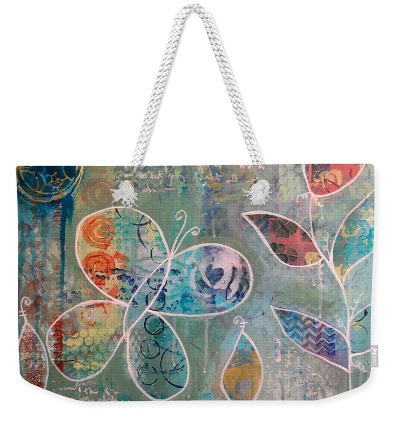 Butterfly Weekender Tote Bag featuring the mixed media Butterfly In Garden by Carmen Whitehead