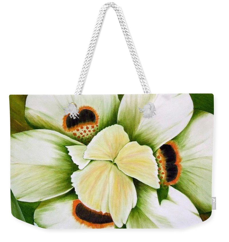 Iris Weekender Tote Bag featuring the painting African Butterfly Iris by Mary Deal