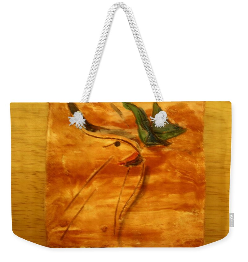 Jesus Weekender Tote Bag featuring the ceramic art Butterfly Kiss - Tile by Gloria Ssali