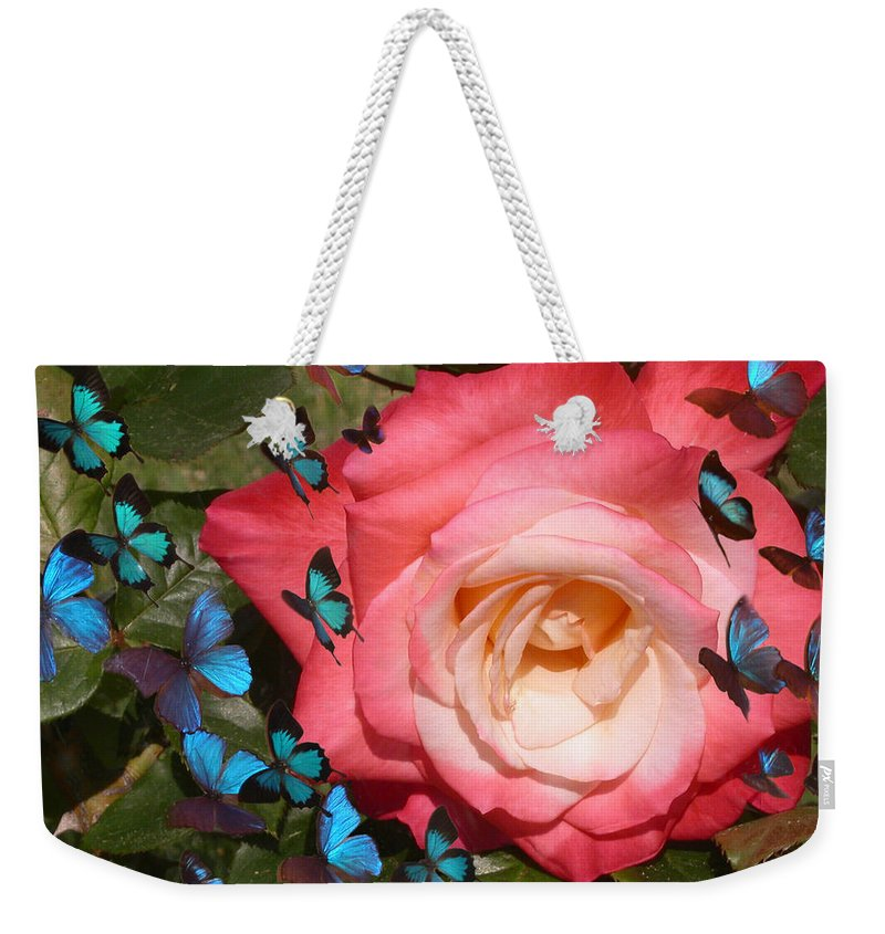 Rose Weekender Tote Bag featuring the photograph Butterfly Kisses by Anne Cameron Cutri