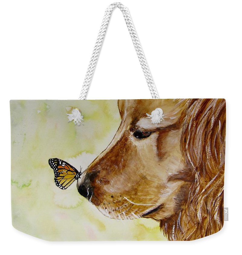 Golden Retriever Painting Weekender Tote Bag featuring the painting Butterfly Kisses by Carol Blackhurst