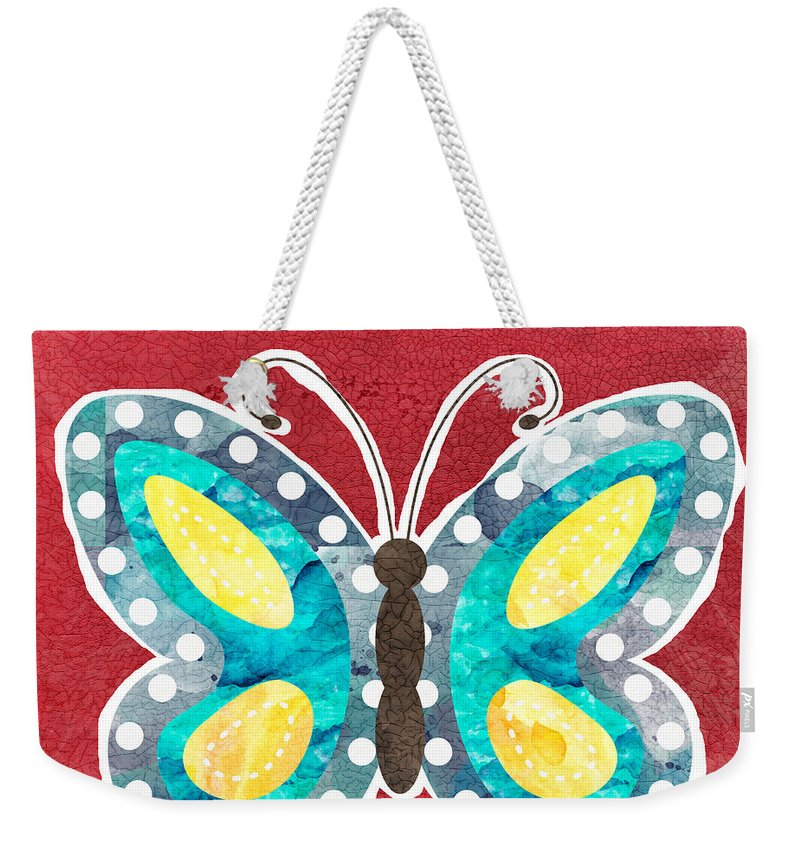 Boho Weekender Tote Bag featuring the painting Butterfly Liberty by Linda Woods