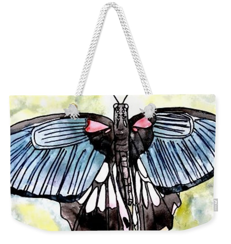 Watercolor Weekender Tote Bag featuring the painting Butterfly Macro by Derek Mccrea