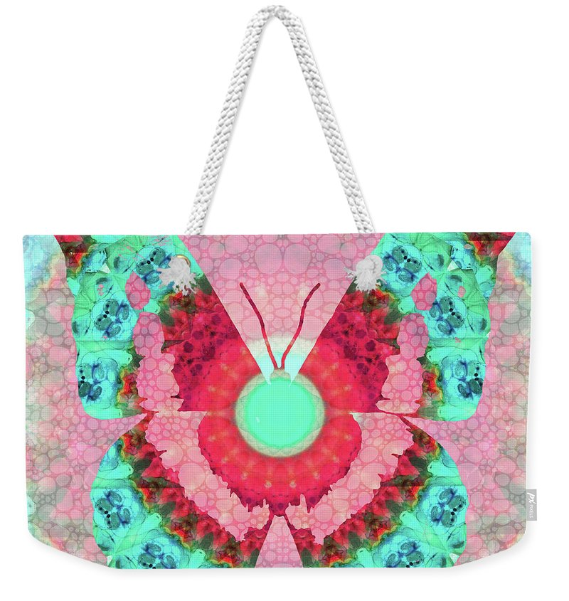 Butterfly Weekender Tote Bag featuring the painting Butterfly Mandala 3 Art By Sharon Cummings by Sharon Cummings