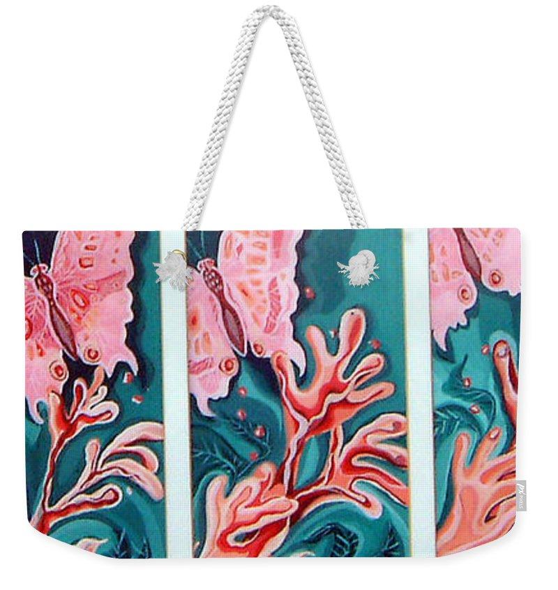 Butterfly Weekender Tote Bag featuring the painting Butterfly Metamorphis by Linda Shackelford
