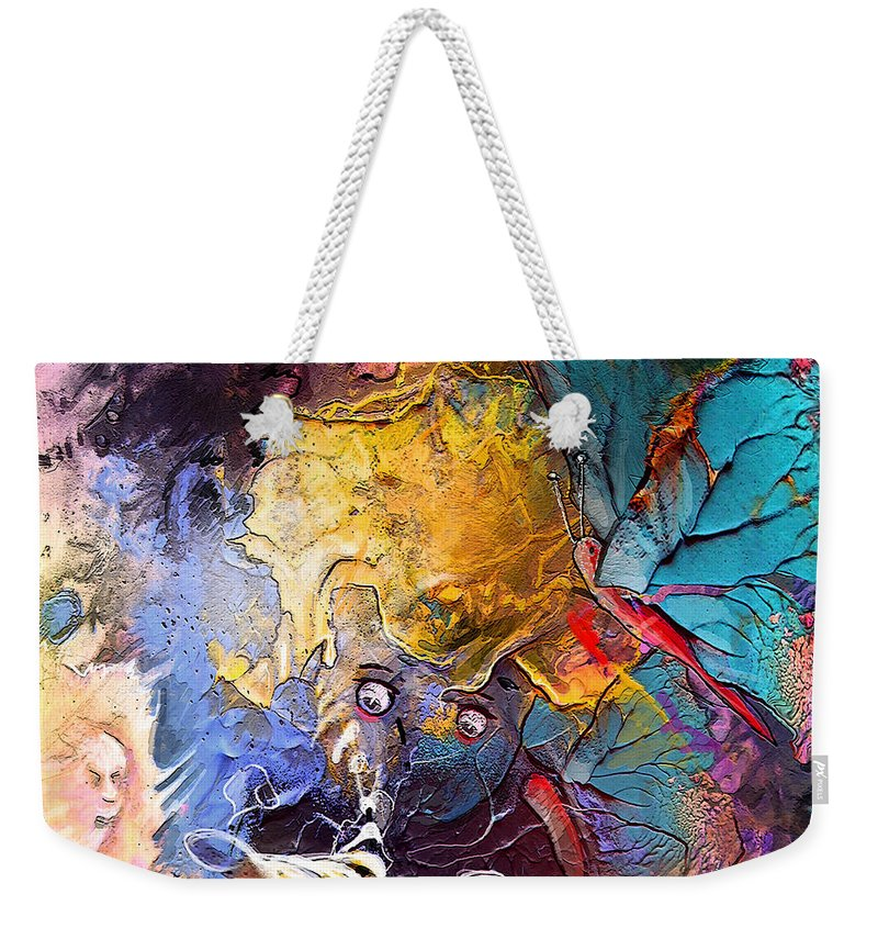 Random Art Weekender Tote Bag featuring the painting Butterfly Mind by Miki De Goodaboom