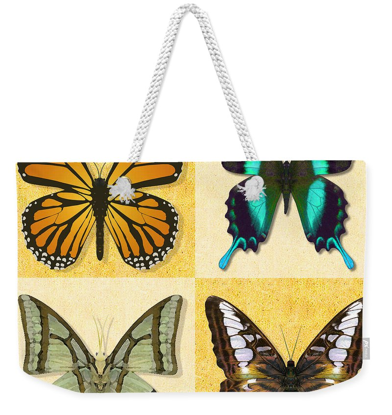 Butterfly Montage Weekender Tote Bag featuring the photograph Four Butterfly Montage by Melissa A Benson