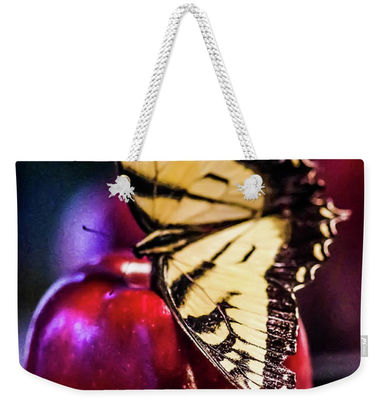 Apple Weekender Tote Bag featuring the photograph Butterfly On Apple by Gerald Kloss