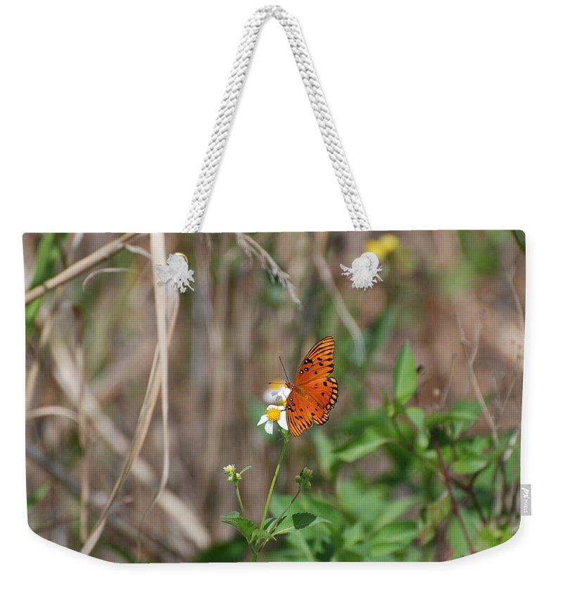 Nature Weekender Tote Bag featuring the photograph Butterfly On Flower by Rob Hans