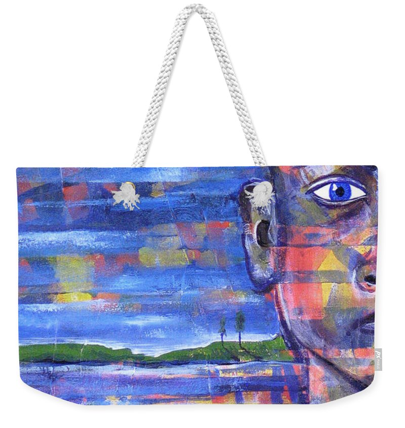 Face Weekender Tote Bag featuring the painting Butterfly On My Shoulder by Rollin Kocsis