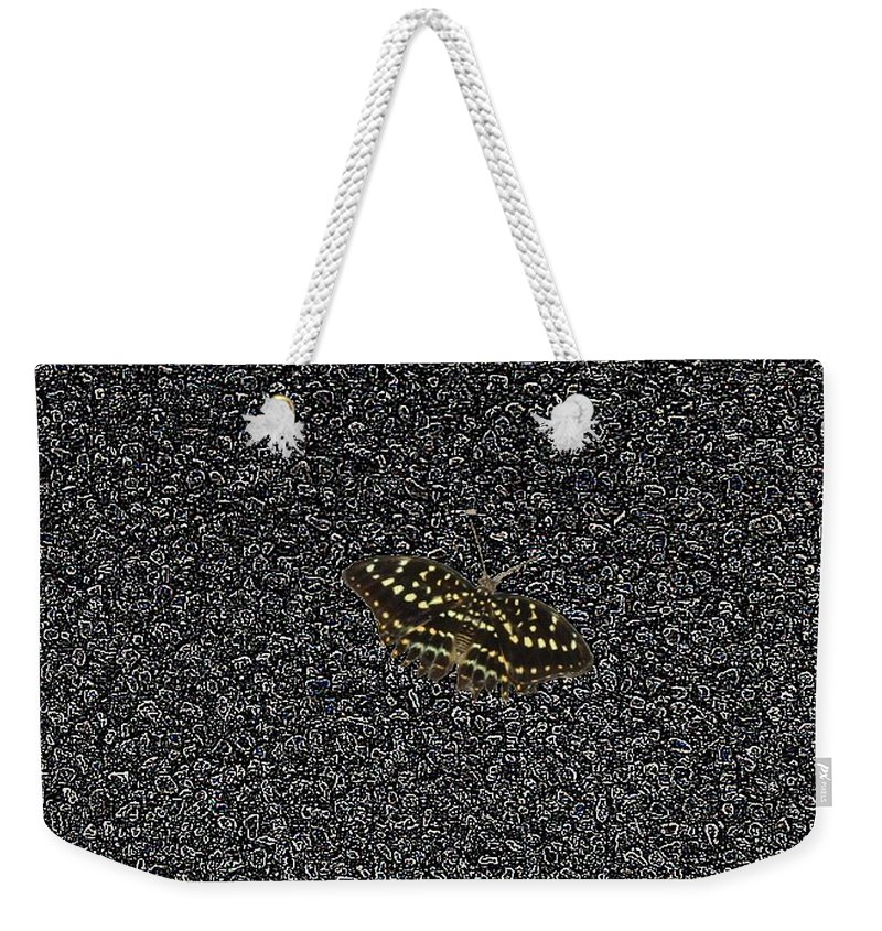 Butterfly Weekender Tote Bag featuring the photograph Butterfly On Stone by Tim Allen
