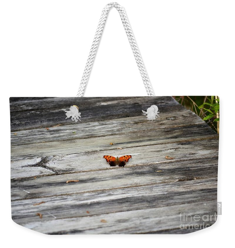 Monarch Weekender Tote Bag featuring the photograph Butterfly On The Dock by Richard Greiner