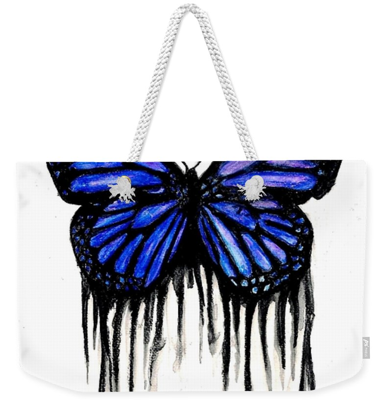 Butterly Weekender Tote Bag featuring the painting Butterfly Tears by Michael Grubb