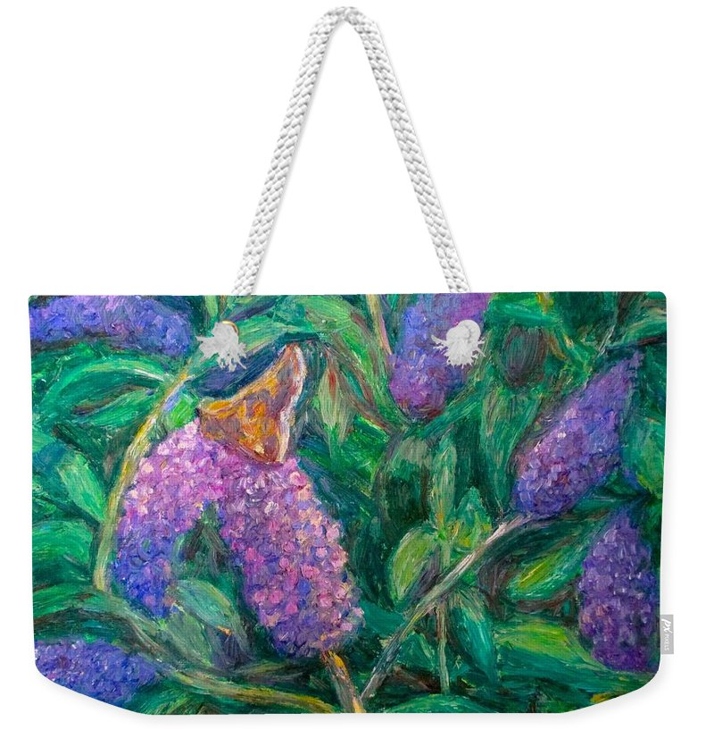Butterfly Weekender Tote Bag featuring the painting Butterfly View by Kendall Kessler