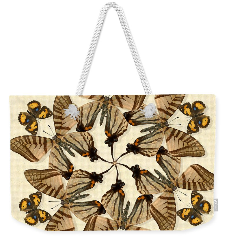 Butterfly Weekender Tote Bag featuring the photograph Butterfly Wheel Dance by Melissa A Benson