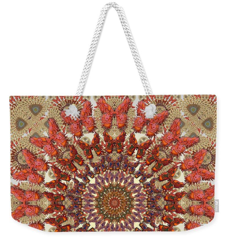 Butterfly Weekender Tote Bag featuring the digital art Butterfly Wheel Grey by Deborah Runham