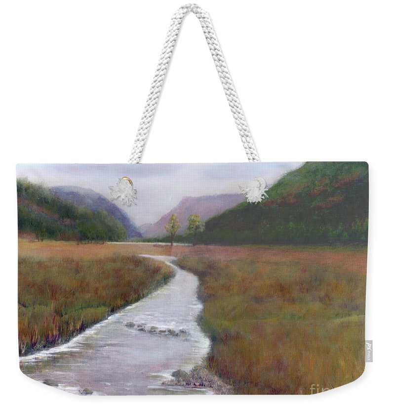 Buttermere. Lake District. English Landscape. Grass Weekender Tote Bag featuring the painting Buttermere In The Lake District by Kim Hamilton