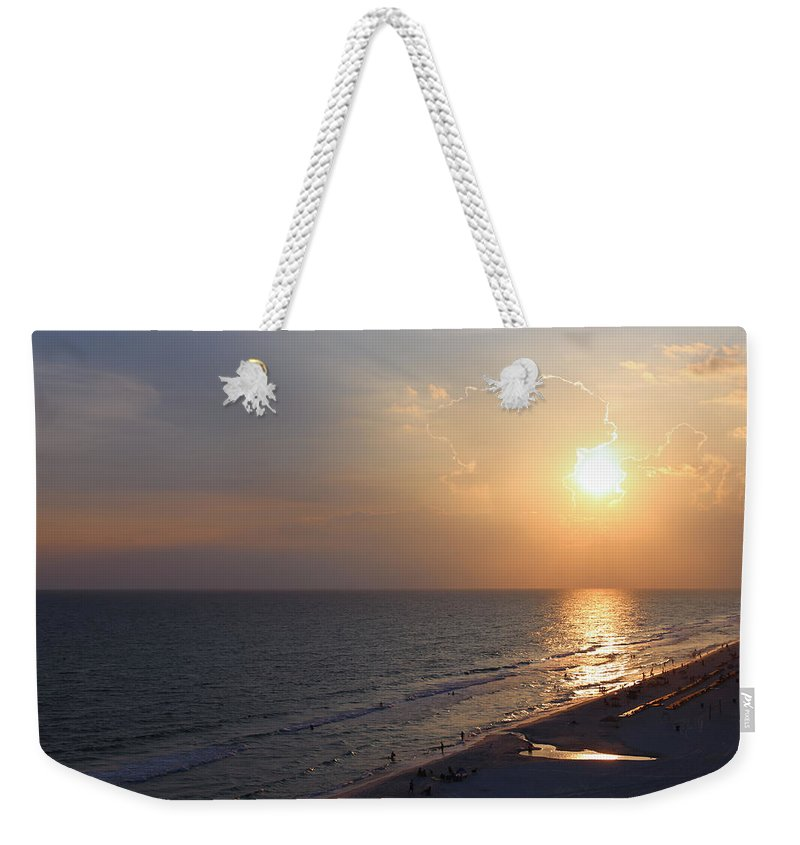Sunset Weekender Tote Bag featuring the photograph Buttery Sunset by Theresa Campbell