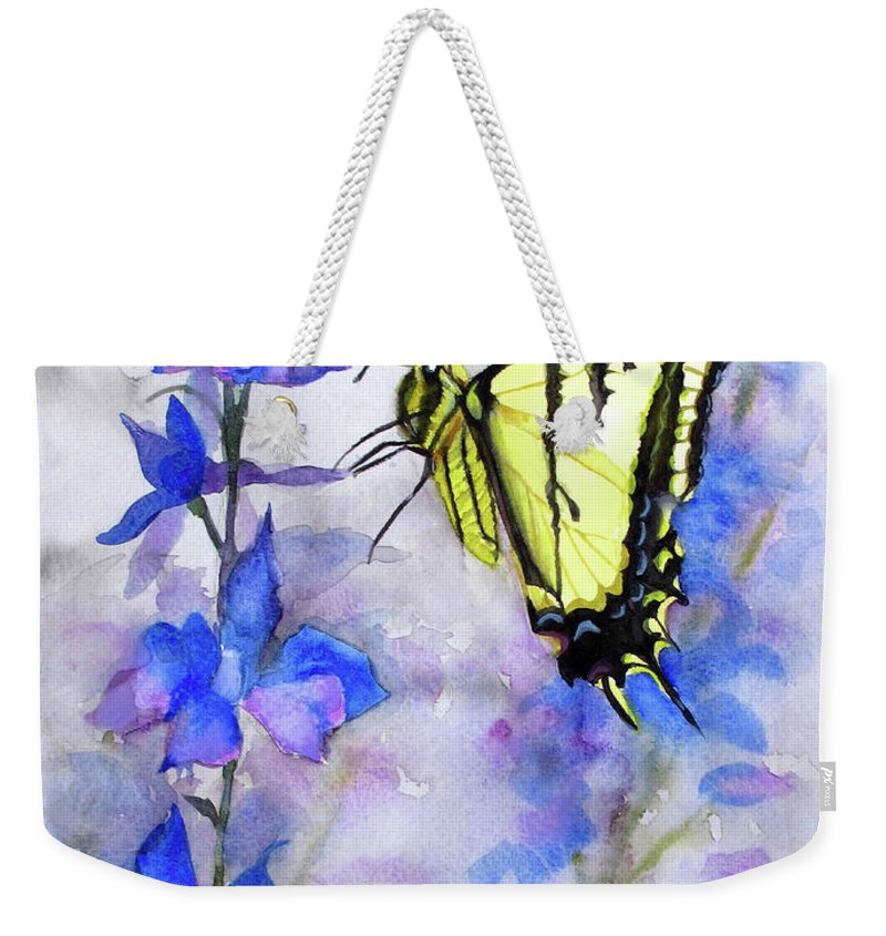 Tiger Swallowtail Butterfly Weekender Tote Bag featuring the painting Butteryfly Delight by Bonnie Rinier