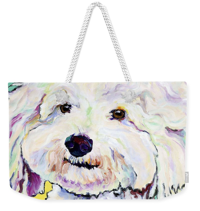 Bischon Weekender Tote Bag featuring the painting Buttons  by Pat Saunders-White