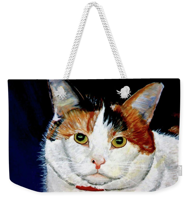 Cat Weekender Tote Bag featuring the painting Buttons by Stan Hamilton