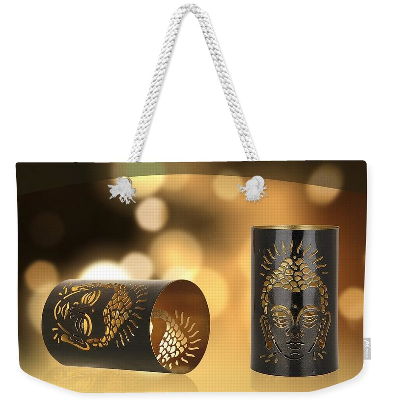 Home Decor Weekender Tote Bag featuring the photograph Buy Attractive Buddha Candle Votive From Rustik Craft by Sangeeta Sharma