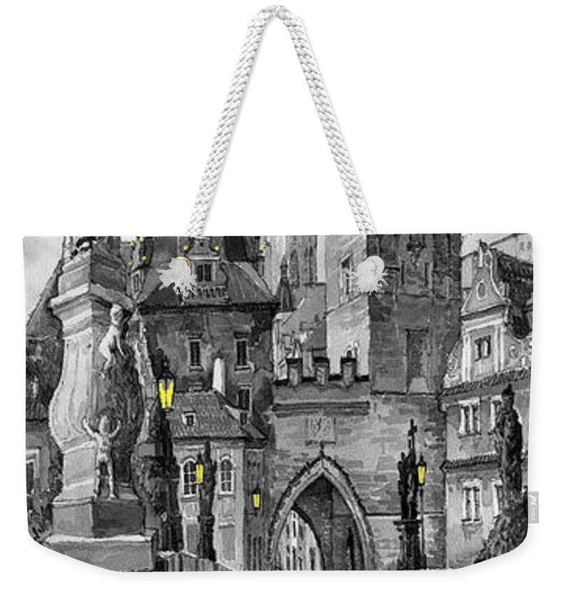 Prague Weekender Tote Bag featuring the painting Bw Prague Charles Bridge 02 by Yuriy Shevchuk