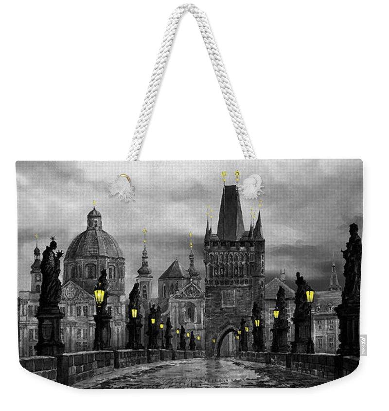 Prague Weekender Tote Bag featuring the painting Bw Prague Charles Bridge 04 by Yuriy Shevchuk